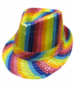 Rainbow Pride Striped Sequined Fedora Hat