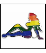 Pride Rainbow Trucker Babe Buckle With FREE Leather Belt