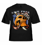 Biker Shirts - Live Free Or Die Men's Biker T-Shirt (Black)