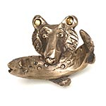 Bruno the Bear with Fish Hooks in Bronze by Rosalie Sherman
