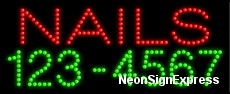 Nails (telephone #) LED Sign