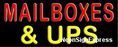 Mailboxes & UPS Neon Sign