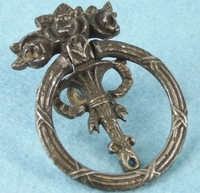 Nickel plated cast iron floral drawer pulls, circa 1900 (1 sold, 1 available)