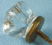 Single large glass knob with brass base (1151)