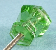 Single green glass knob (1030)
