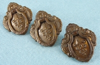 SET of 9 brass plated drawer pulls, circa 1930s