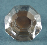 Single face cut glass knob with screw-in brass base (7757)