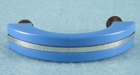 Blue plastic mid-century drawer pull with chrome accent, circa 1950s (7 available)