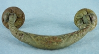 PAIR heavy cast brass drawer handles, circa 1900