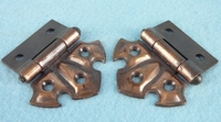 PAIR tiger stripe brass plated steel hinges (1308)