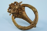 Cast brass basket drawer pull (15 available) <NOBR>(ca. 1900s)</NOBR>