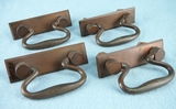 SET of 4 heavy cast copper handles, circa 1920s