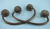 PAIR hand-wrought bronze drawer pulls, circa 1900