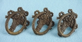 SET OF 3 cast brass basket drawer pulls, circa 1910s