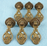 SET of 6 cast brass ship drawer pulls, circa 1930s
