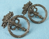PAIR nickel plated cast iron floral drawer pulls, circa 1900
