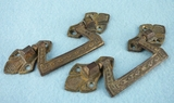 SET of 6 cast brass drawer pulls, circa 1880s