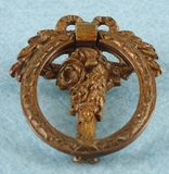 SET OF 6 cast brass floral basket drawer pulls, circa 1900