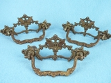 SET of 3 cast brass drawer pulls, circa 1900