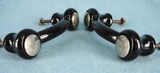 Black glass drawer pull with nickel-plated bolts, circa 1930s (11 available)