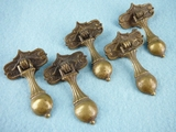 SET of 5 cast brass drawer pulls, circa 1920s