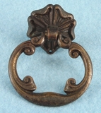 Single cast brass drawer pull, circa 1920s
