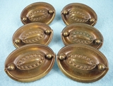 SET of 6 brass drawer pulls, circa 1930s