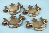 SET of 4 brass plated drawer pulls, circa 1940s