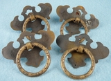 SET of 4 brass plated drawer pulls, circa 1930s