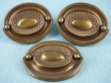 SET of 3 brass plated drawer pulls, circa 1930s