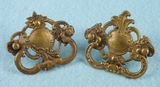 PAIR cast brass drawer pulls, circa 1920s
