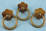 SET of 3 brass drawer pulls, circa 1920s