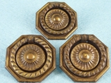 SET of 3 brass drawer pulls, circa 1930s