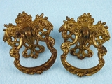PAIR cast brass drawer pulls, circa 1910s