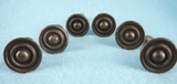 SET of 6 brass plated knobs (1169)