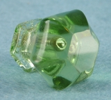 Single face cut green glass knob (1015)