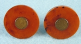 PAIR Bakelite and brass knobs (754)