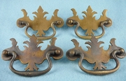 SET of 4 heavy hand-filed cast brass drawer pulls, vintage 1910s