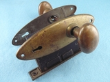 Sargent brass mortise lock set with oval knobs <NOBR>(ca. 1910s)</NOBR>