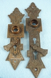 SET of 2 cast brass back plates with swivel keyhole covers <NOBR>(ca. 1880s)</NOBR>