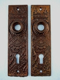 PAIR cast iron back plates <NOBR>(ca. 1880s)</NOBR>