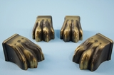 SET of 4 brass plated paw feet <NOBR>(ca. 1940s)</NOBR>