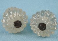 PAIR distressed hand-blown glass knobs (7361-02)