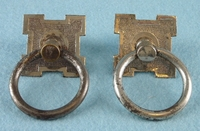 PAIR nickel plated drawer pulls, circa 1900