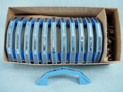 """Hollymade"" blue plastic drawer handle with chrome accent, circa 1940s  (4 available)"