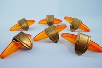 SET of 6 Deco brass and amber plastic drawer pulls, circa 1930s