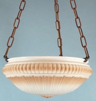 Brass 3-chain fixture with tan and white inverted glass dome <NOBR>(ca. 1920s)</NOBR>