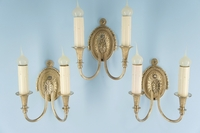 Set of 3 silver plated cast brass 2-candle wall sconces, circa 1920s