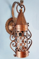 PAIR hammered copper and wrought iron wall sconces, circa 1920s