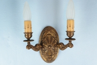 PAIR embossed and cast brass 2-candle wall sconces, circa 1910s